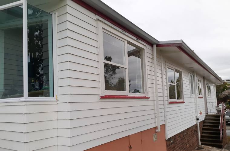A clean weatherboard house